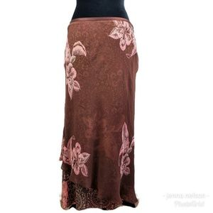 Tommy Bahama Skirt 10 Brown Floral 100% Silk Lined